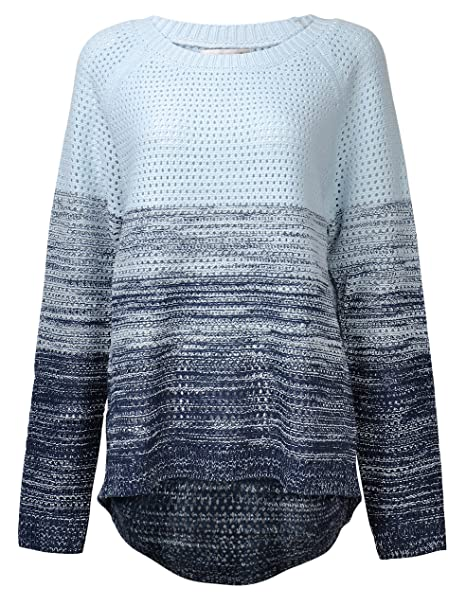 fd065773fe0a ZLYC Women Girl Fashion Gradient Color Stripe Loose Pullover Knit Sweater  Jumper