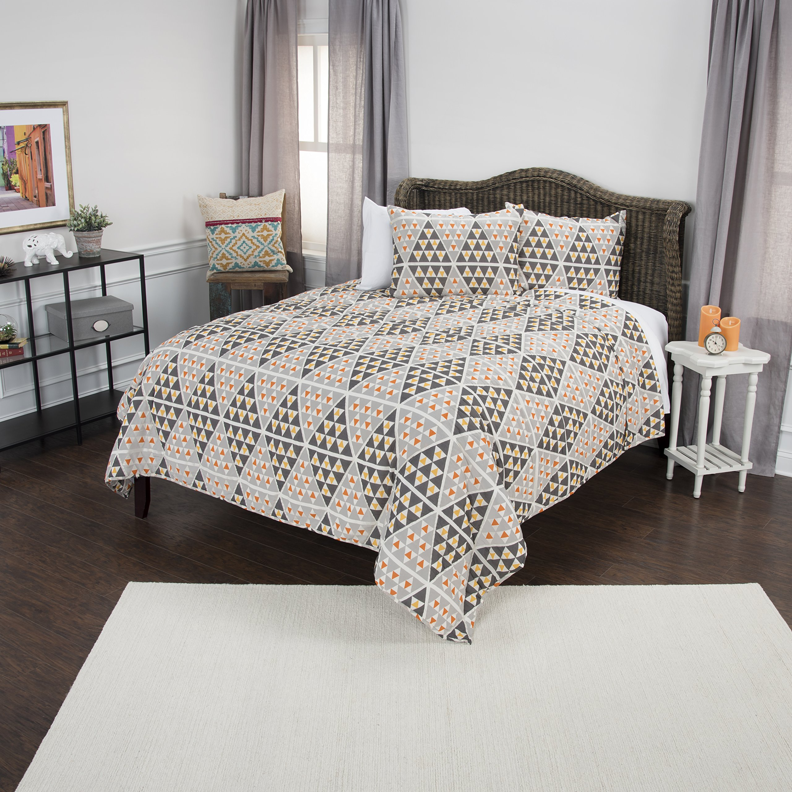 Rizzy Home Maddux Place Tommy Geometric 2 Piece Quilt Set, Twin X-Large, Orange