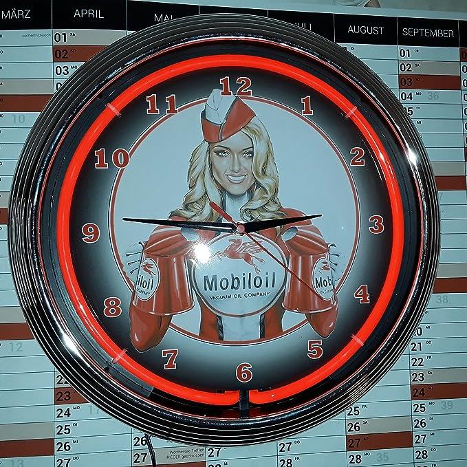 Neón reloj pared rojo pinup girl