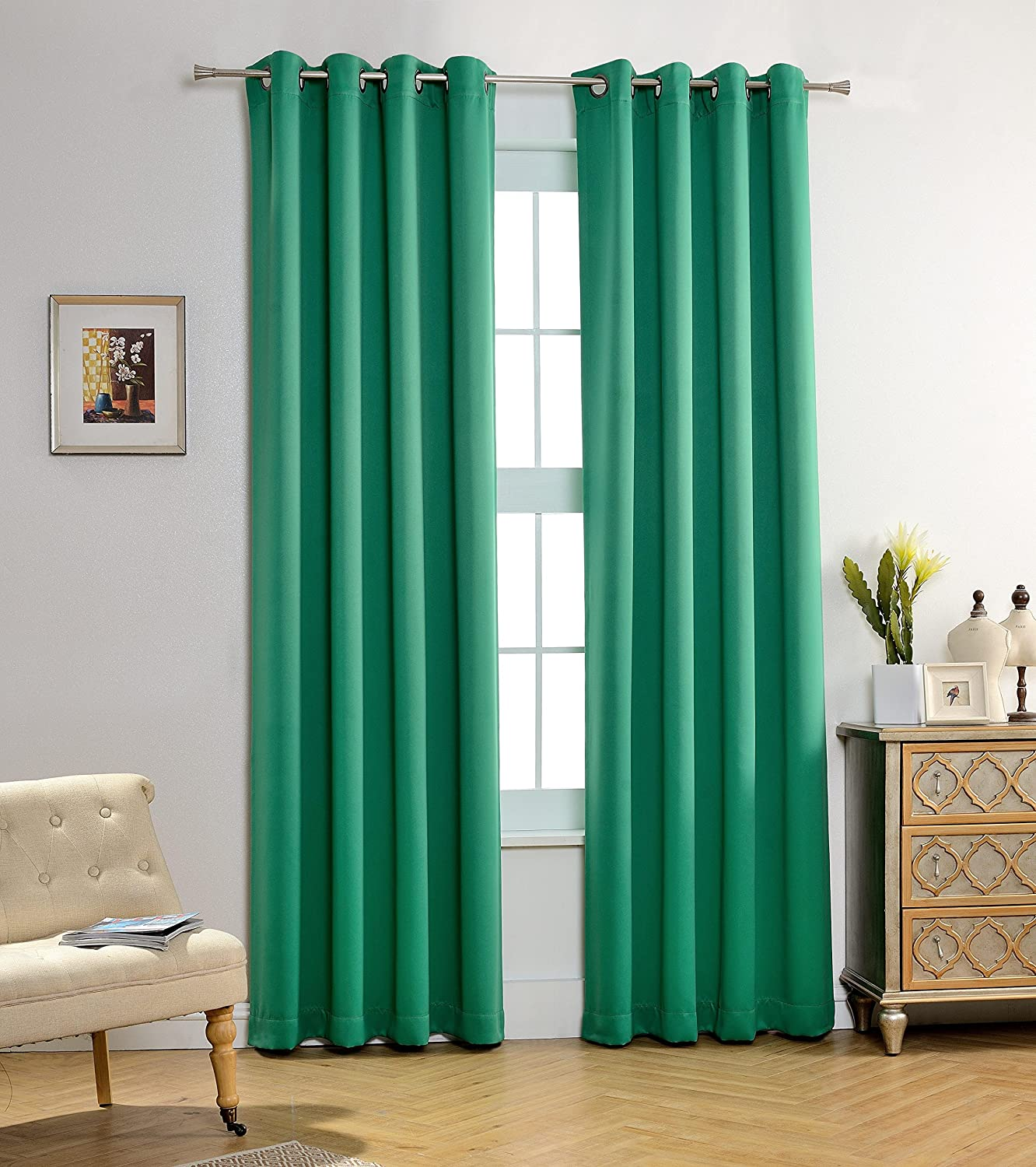 MYSKY HOME Solid Grommet top Thermal Insulated Window Blackout Curtains