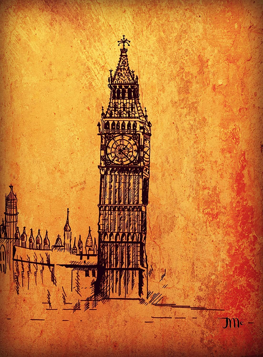 Big Ben In London English Decor England Gift Architecture Orange Old World Fog Art Print Birthday Holiday