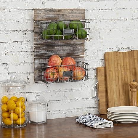 Amazon.com: MyGift rústico madera y alambre de metal cesta ...