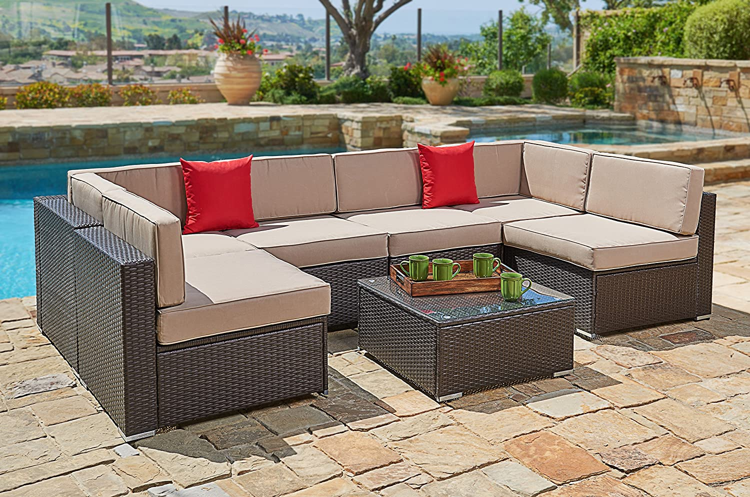 Suncrown Outdoor Furniture Sectional Sofa Set (7-Piece Set) All-Weather Brown Wicker with Brown