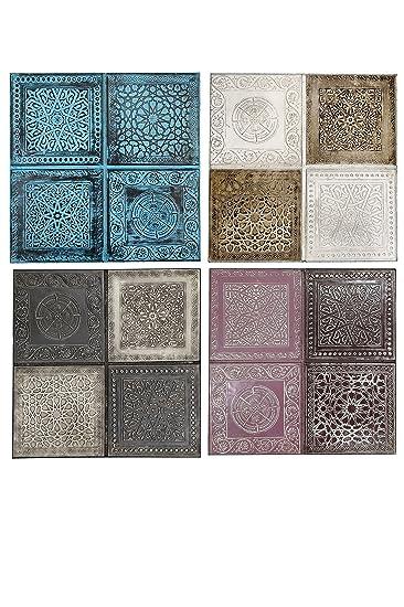 4er SET Orientalisches Wandbild Wanddeko Sahra 30cm Aus Metall |  Orientalische Vintage Wanddekoration Für Wohnzimmer,