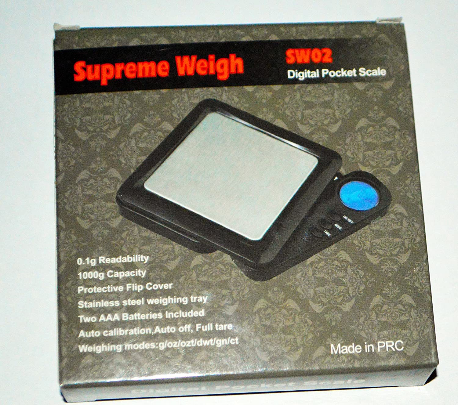 Amazon.com : Supreme Weigh SW02 Digital Pocket Scale 1000g Capacity Stainless Steel weighing tray with 0.1g Readability and Auto Calibration Batteries ...