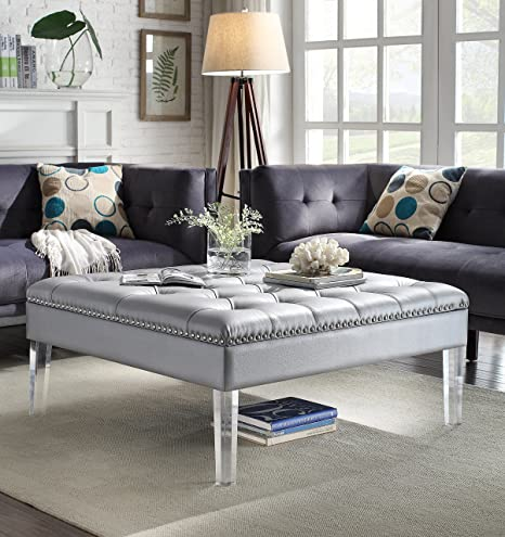 timeless design a15a4 2e3f1 Iconic Home Twain Modern Oversized Tufted Silver Leather Acrylic Cocktail  Ottoman
