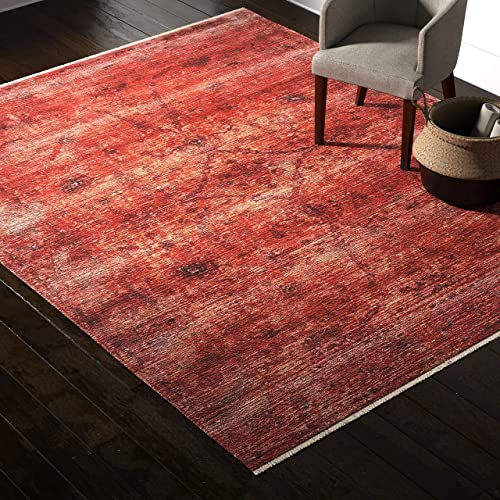 Amazon Brand Rivet Mid-Century Modern Sunrise Area Rug, 7 6 x 9 6 , Orange