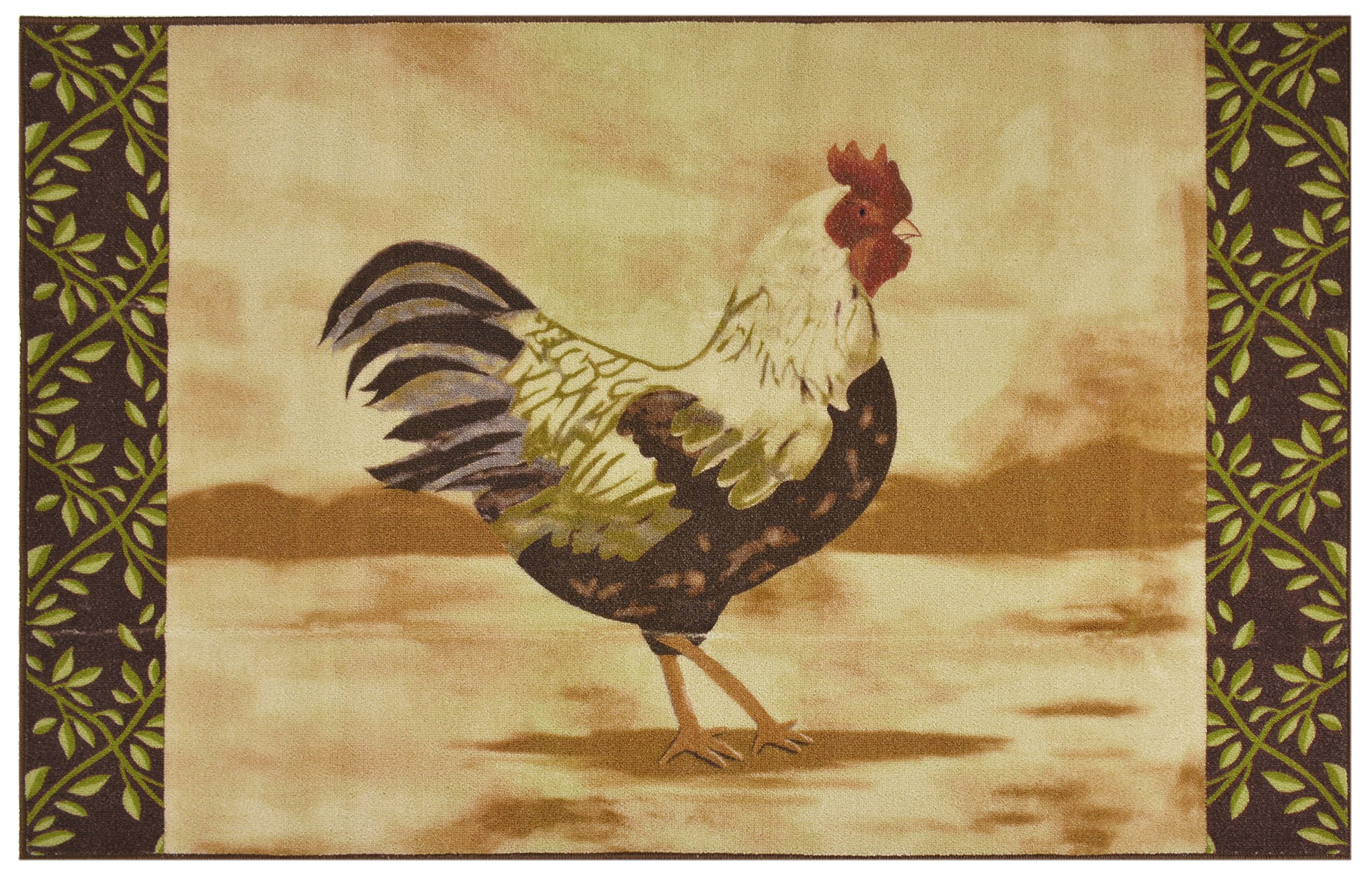 Kitchen Rooster Area Rug Country Design Slip Skid Resistant Rubber Backing Anti Bacterial (Beige Brown, 2'11'' x 4'11'' )