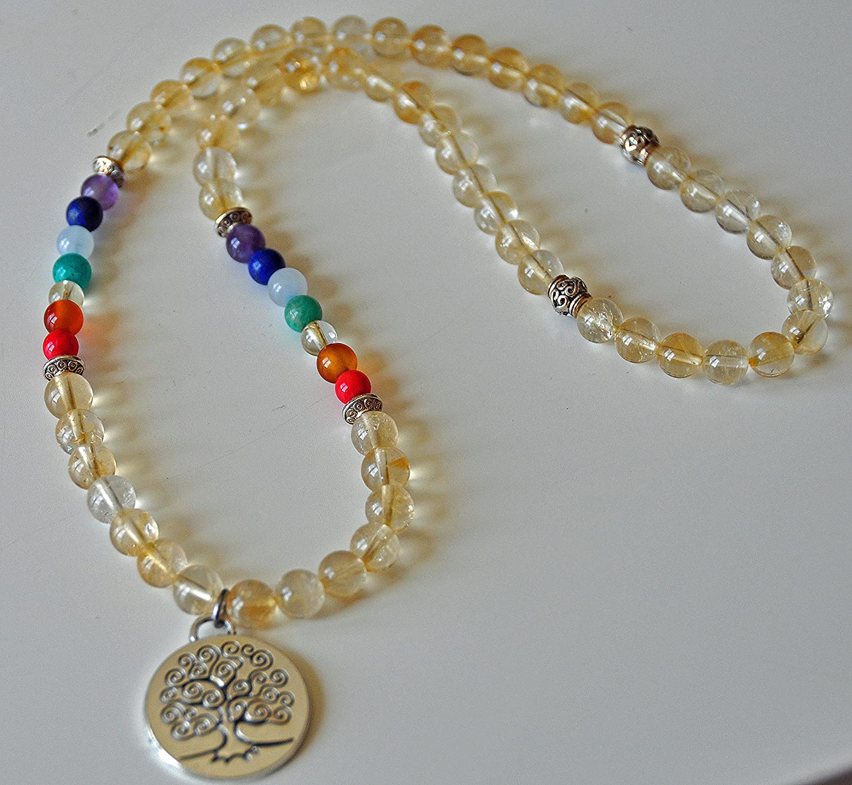 Success Money 7 chakra gemstone necklace,Tree of Life Mala Necklace prosperity abundance Citrine Necklace Buddhist Jewelry
