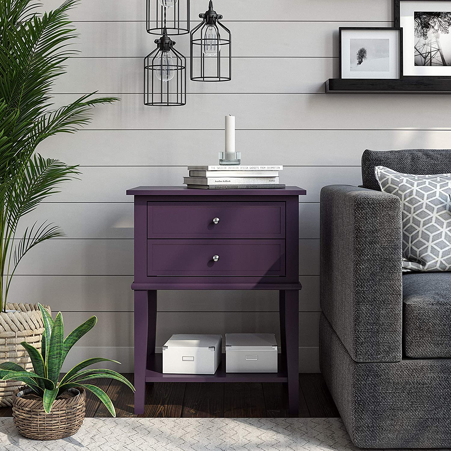 Ameriwood Home Franklin Accent 2 Drawers, Purple Table