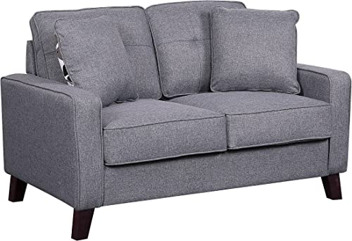 Container Furniture Direct Lillana Linen Upholstered Mid-Century Modern Loveseat