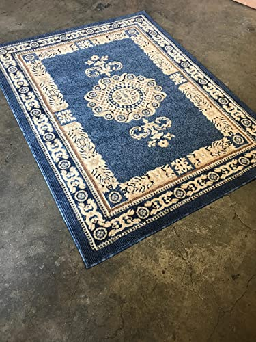 Americana Traditional Persian Area Rug Light Blue Beige Carpet King Design 121 8 Feet X 10 Feet 6 Inch