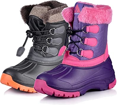MCICI Kids Boots Snow Boots Slip-On Waterproof Outdoor Sneakers Faux Fur Lined Boys Winter Shoes Girls Warm Boots