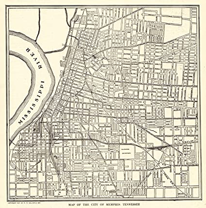 1917 Antique Memphis Map Original Vintage Map of Memphis Tennessee Not a  Reprint Home Office Decor Black and White Gallery Wall Art #1210