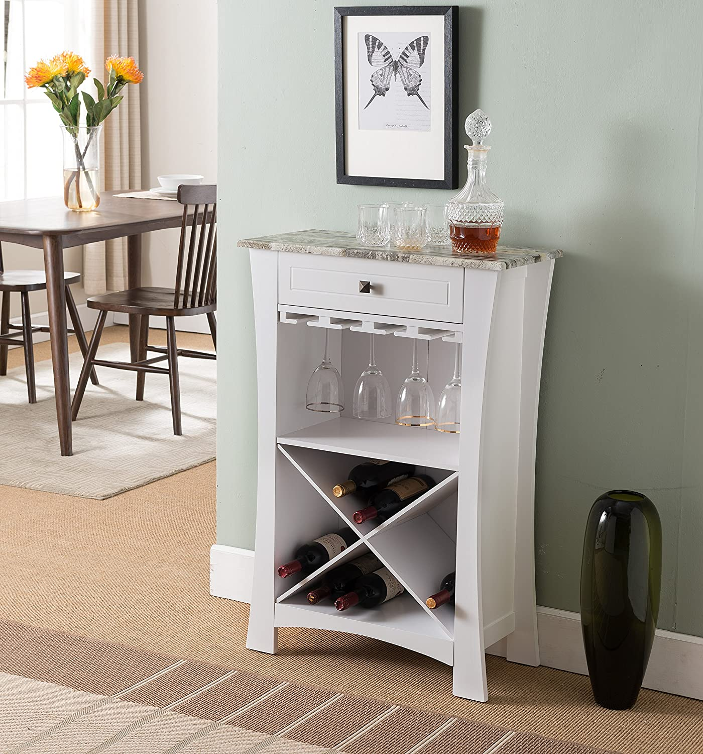 Kings Brand Hiland Bar Cabinet Wine Storage With Glass Holders Drawer, White, White