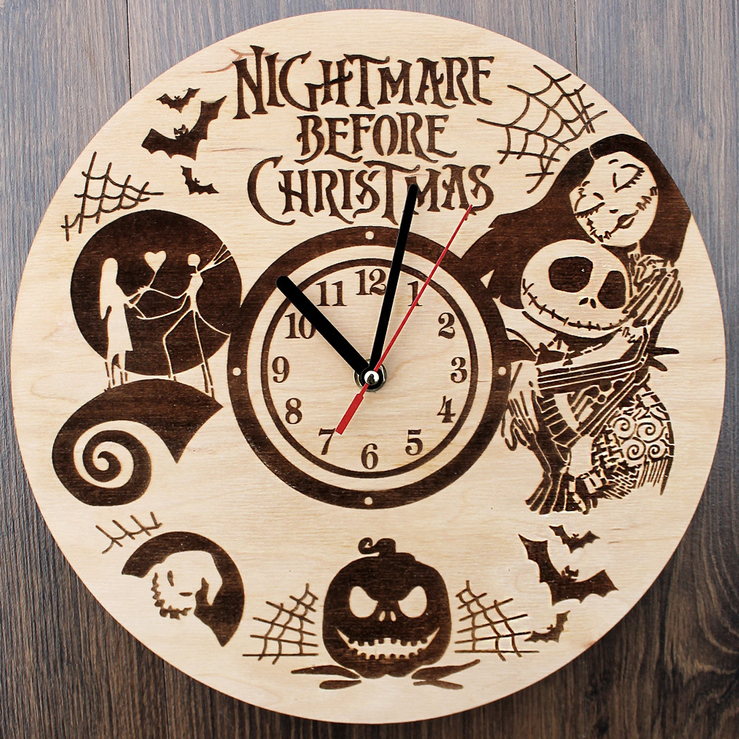 Jack Skellington Sally Nightmare before Christmas Design Real Wood Wall Clock - Eco Friendly Natural Nursery Wall Decor - Creative Gift Idea for Teens and Youth