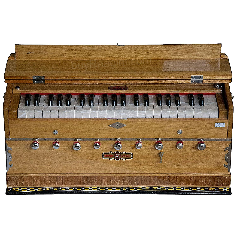 BINA Sangeet, Harmonium In USA, Natural Color, 9 Stops, 3 1/2 Octaves, Double Reed, Coupler, Nylon Bag, Book, Kirtans, Bhajans Musical Instrument Indian (PDI-BJB)