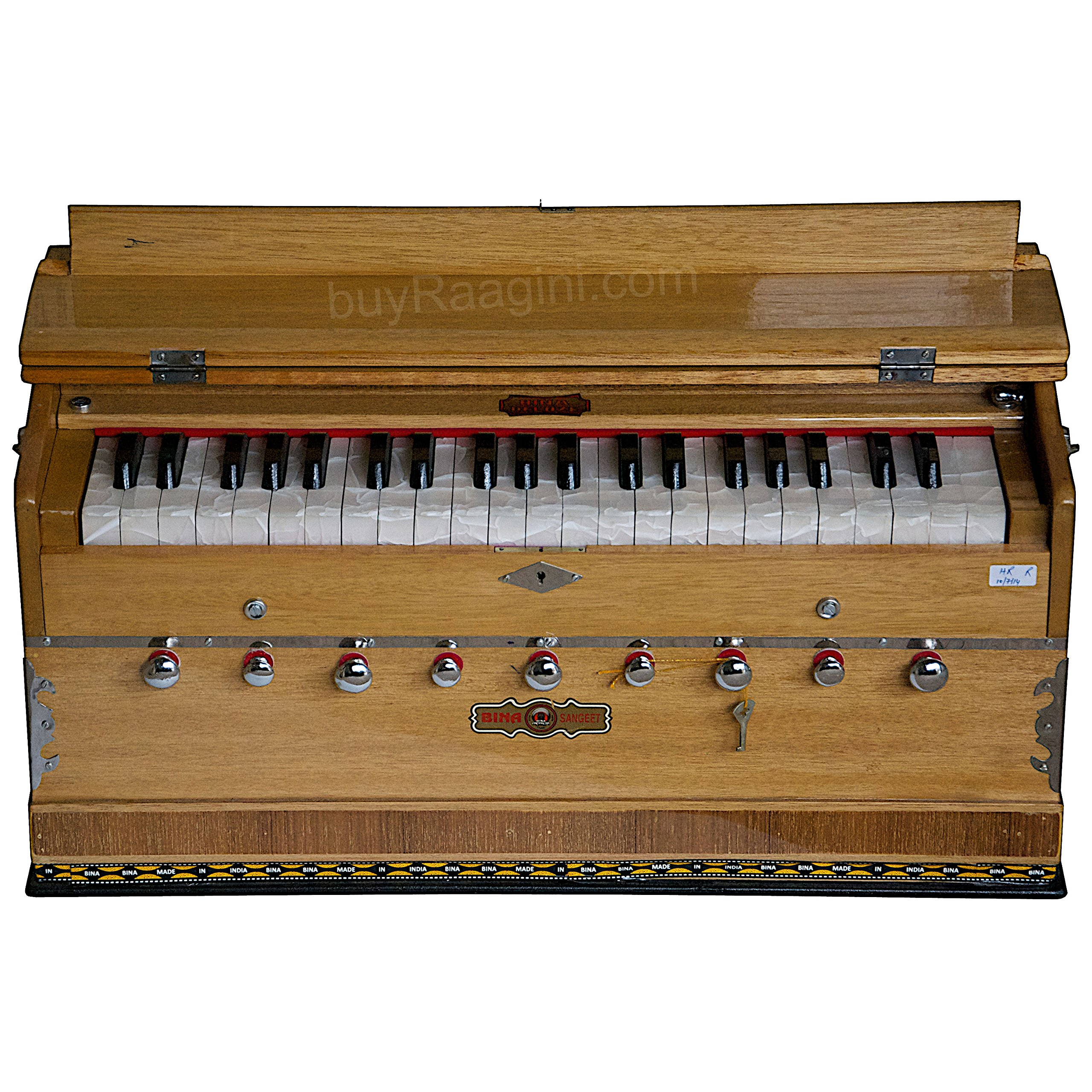 BINA Sangeet, Harmonium In USA, Natural Color, 9 Stops, 3 1/2 Octaves, Double Reed, Coupler, Nylon Bag, Book, Kirtans, Bhajans Musical Instrument Indian (PDI-BJB) by Bina
