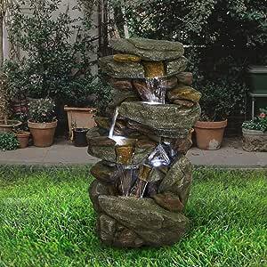 "JELLYSTARS Outdoor Garden Fountain with LED Lights - 5 Tier Rock Waterfall Standing Water Fountain for Garden Patio Deck Porch Backyard Yard Decor Fountain Outdoor Indoor Art Fountain 40.15"""