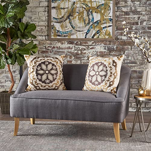 Christopher Knight Home 302028 Jasper Mid Century Modern Fabric Loveseat Dark Grey ,