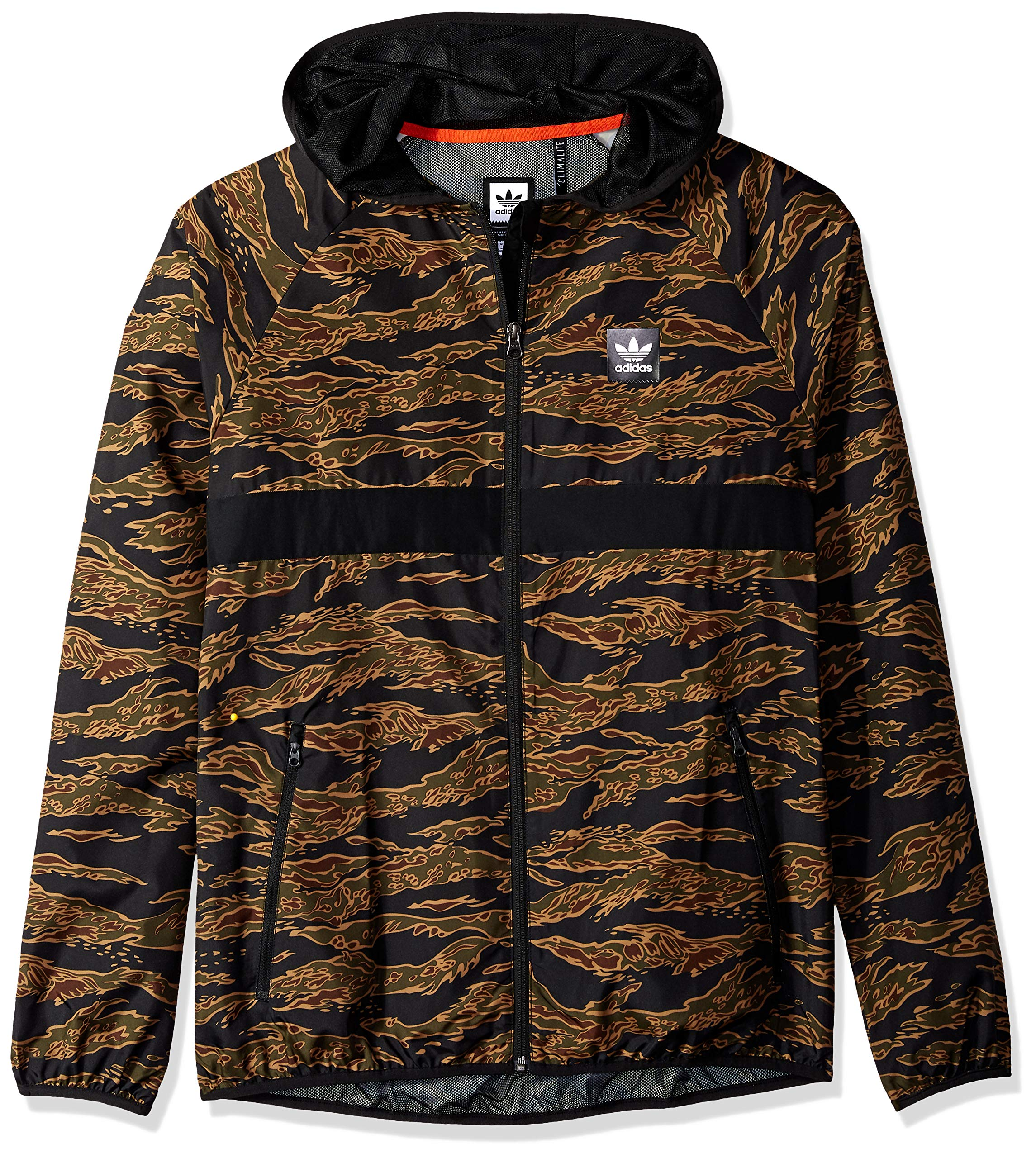adidas Originals Men's Skateboarding Camo All Over Print Packable Wind Jacket, Camo Print/Black/Collegiate Orange, M