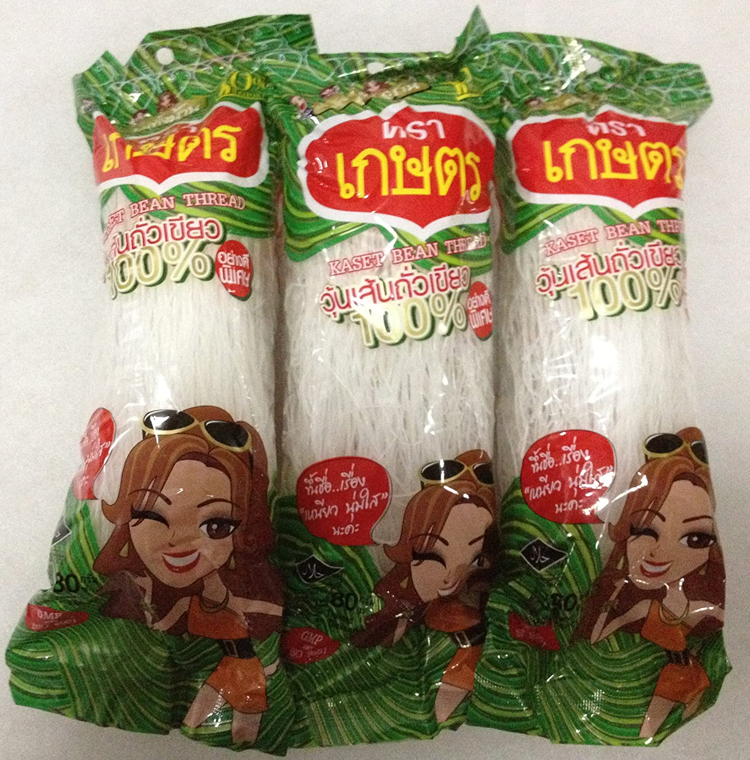 Kaset Brand Thai Bean Thread Glass Noodles - 8.46 oz (2.82 oz x 3 Sachets) From Thailand by Kaset