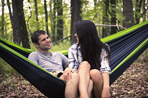 Double Camping Hammocks - Made From Strong and Weather Resistant Lightweight Parachute Nylon- Hammocks Include Stretch Resistant Tree Strap Suspension System- Perfect for Travel, Hiking or Backpacking