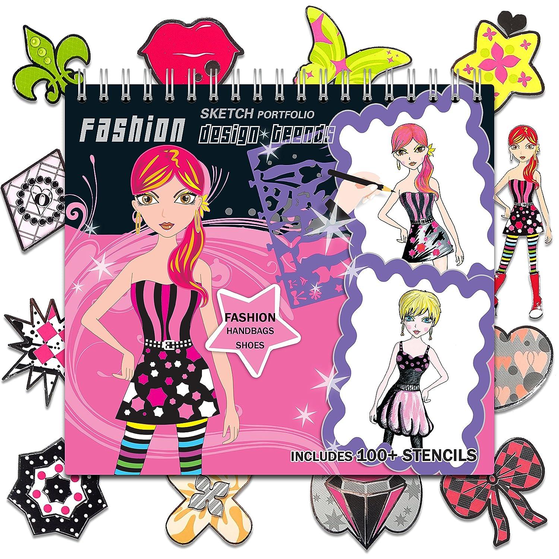 Pro Fashion Sketch Portfolio - Designer Sketchbook - Sticker Book for Kids - 100+ Stencils, 36 Coloring Pages, Dresses Bags Shoes Hair Makeup Nails Design – Art Kit Stickers Coloring Book for Girls