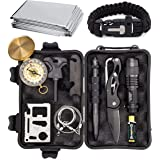 Complete 12 in 1 Survival Kit by Sealed Products - Batteries Included - Ultimate Outdoor Emergency Camping Tool with Paracord Bracelet, Compact Knife, Multitool, and More - Designed for Men and Women