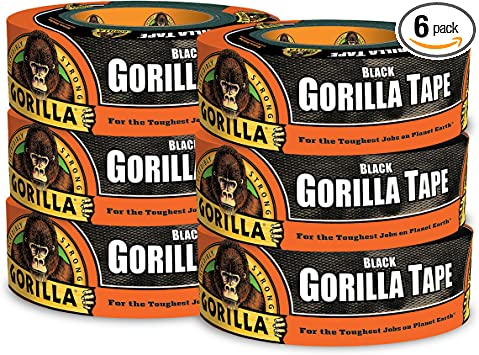 "Black Heavy Duty Double Thick Duct Tape 2 pack Gorilla Tape 1.88/"" x 35 yd"