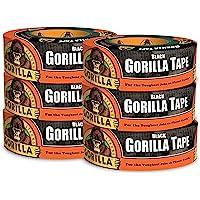 Gorilla Tape Cinta adhesiva negra, 4.78 cm x 91.44 m, color negro, paquete de 6, 6 - Pack, Negro