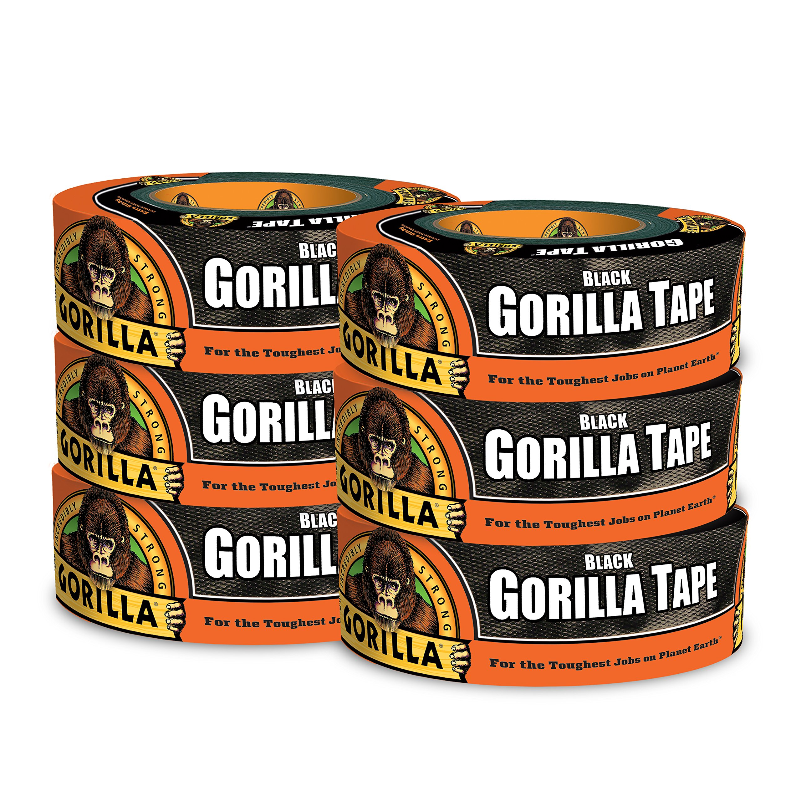 Gorilla Tape, Black Duct Tape, 1.88'' x 35 yd, Black, (Pack of 6) by Gorilla