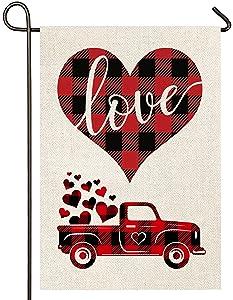 Atenia Burlap Valentines Love Hearts Garden Flag, Double Sided Garden Outdoor Yard Flags for Garden Decor (Garden Size - 12.5X18)
