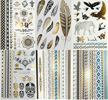Super Metallic Gold Silver Black Jewelry Temporary Bling Tattoo 6 ...