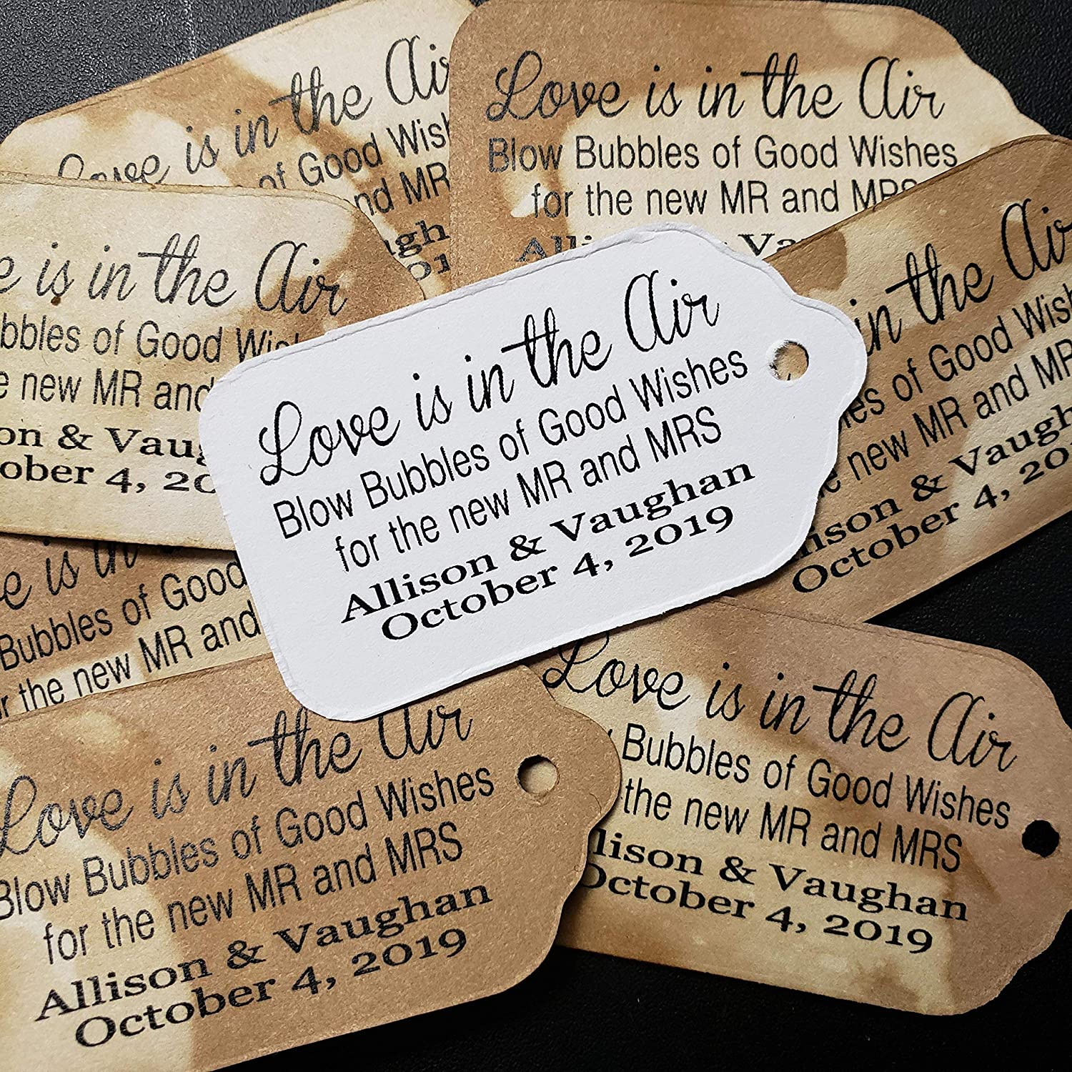 my SMALL 2 x 1 1//8 Love is in the Air Blow Bubbles of Good Wishes for the new MR and MRS Personalized Tea Stained Favor Tag sets of 25 Tags