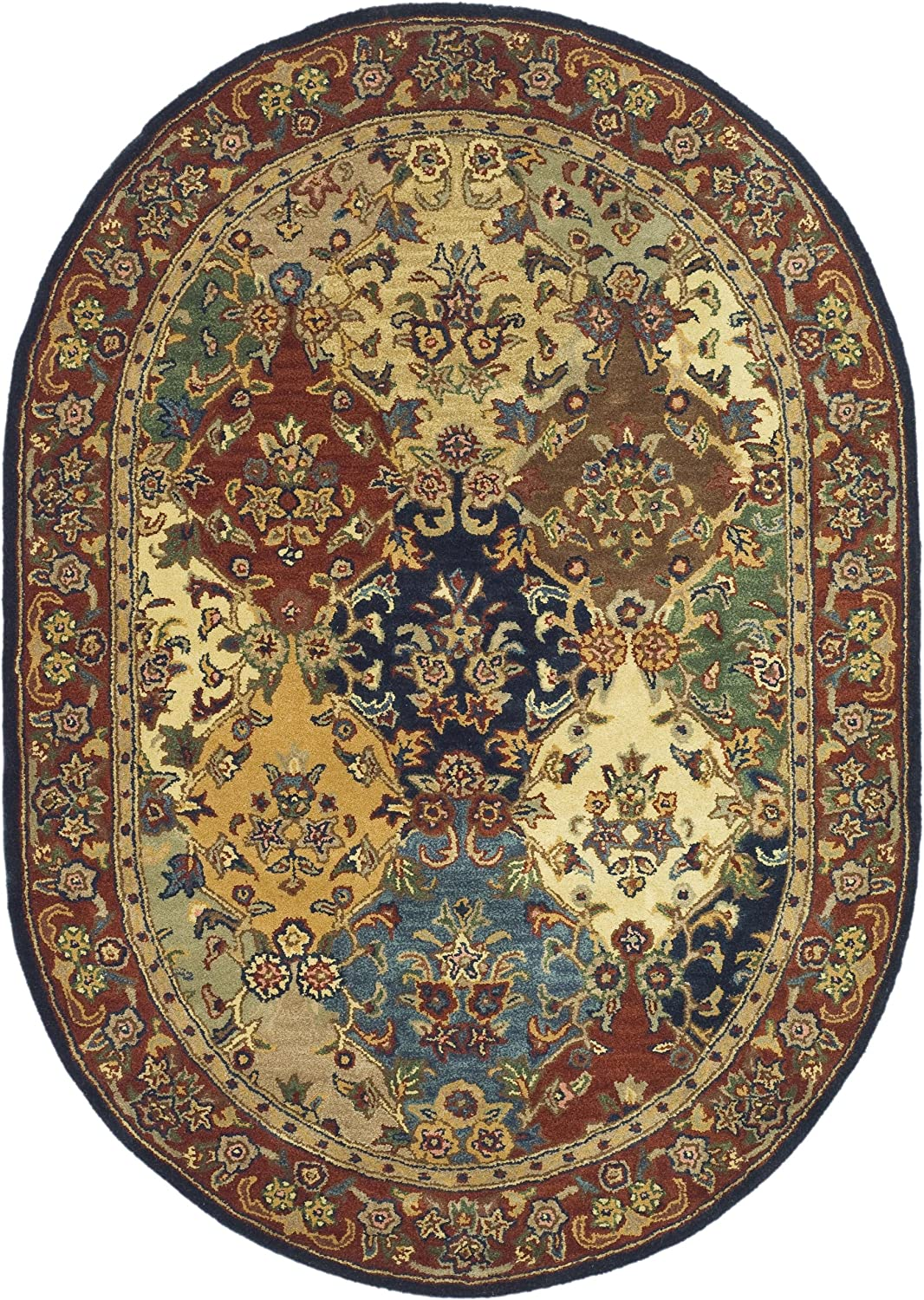 "Safavieh Heritage Collection HG911A Handmade Traditional Oriental Multi and Burgundy Wool Oval Area Rug (7'6"" x 9'6"" Oval)"