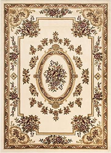 "Pastoral Medallion Ivory French European Formal Traditional 8x11 8x10 7'10"" x 10'6"" Area Rug Easy to Clean Stain Fade Resistant Shed Free Contemporary Floral Thick Soft Plush Living Dining Room Rug"