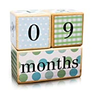 Premium Solid Wood Milestone Age Blocks | Choose From 3 Different Color Styles (Multi-Color) | Baby Age Photo Blocks | Perfect Baby Shower Gift and Keepsake by LovelySprouts