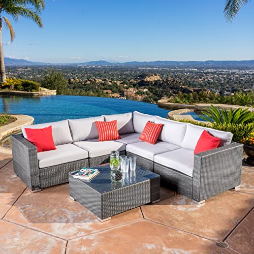 Great Deal Furniture Francisco Outdoor 6-Piece Grey Wicker Seating Sectional Sofa Set