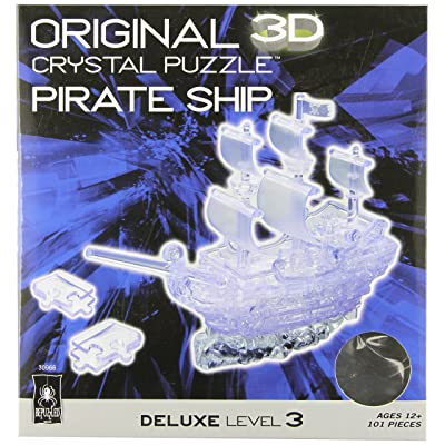 Original 3D Crystal Puzzle - Deluxe Pirate Ship Clear: Toys & Games