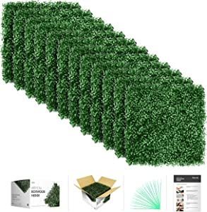 """flybold Artificial Boxwood Panels Topiary Hedge Plant UV Protected Privacy Screen Outdoor Indoor Use Garden Fence Backyard Home Decor Greenery Walls Pack of 12 Pieces 20"""" x 20"""" inch Dark Green"""