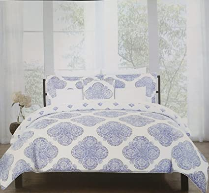 medallion queen sets white shams pillows set comforter piece blue cotton new tahari bedding
