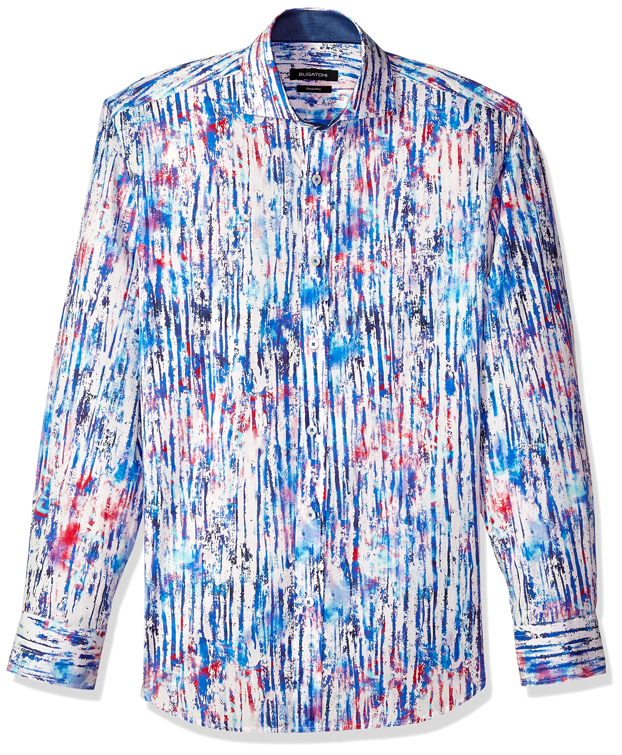 Bugatchi Men's Printed Cotton Slim Fit Spread Collar Woven Shirt, Classic Blue, XXL