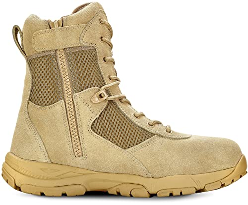 Maelstrom LANDSHIP 2.0 8'' Men's Tan Tactical Boots With Zipper – Military, Work & Tactical Boots – Athletic, Breathable, Durable, Comfortable & Lightweight Boots For Men, Tan, Size 10W