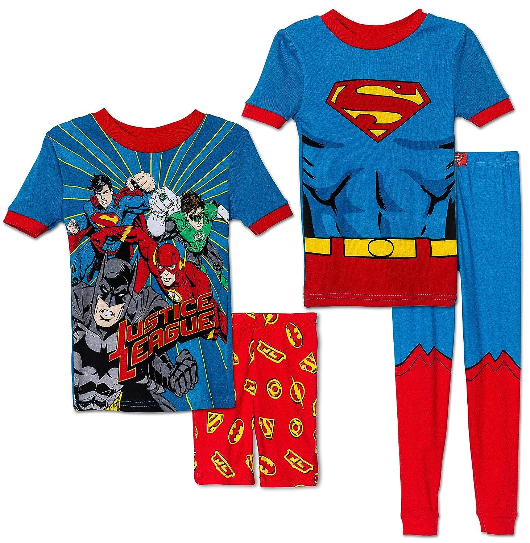 Komar Kids Boys 4 Piece Cotton Pajamas Sleepwear Set with Shorts and Pants