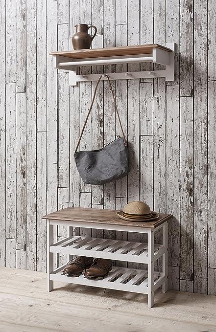 Zapatero en madera de pino blanco, zapatero y perchero ...