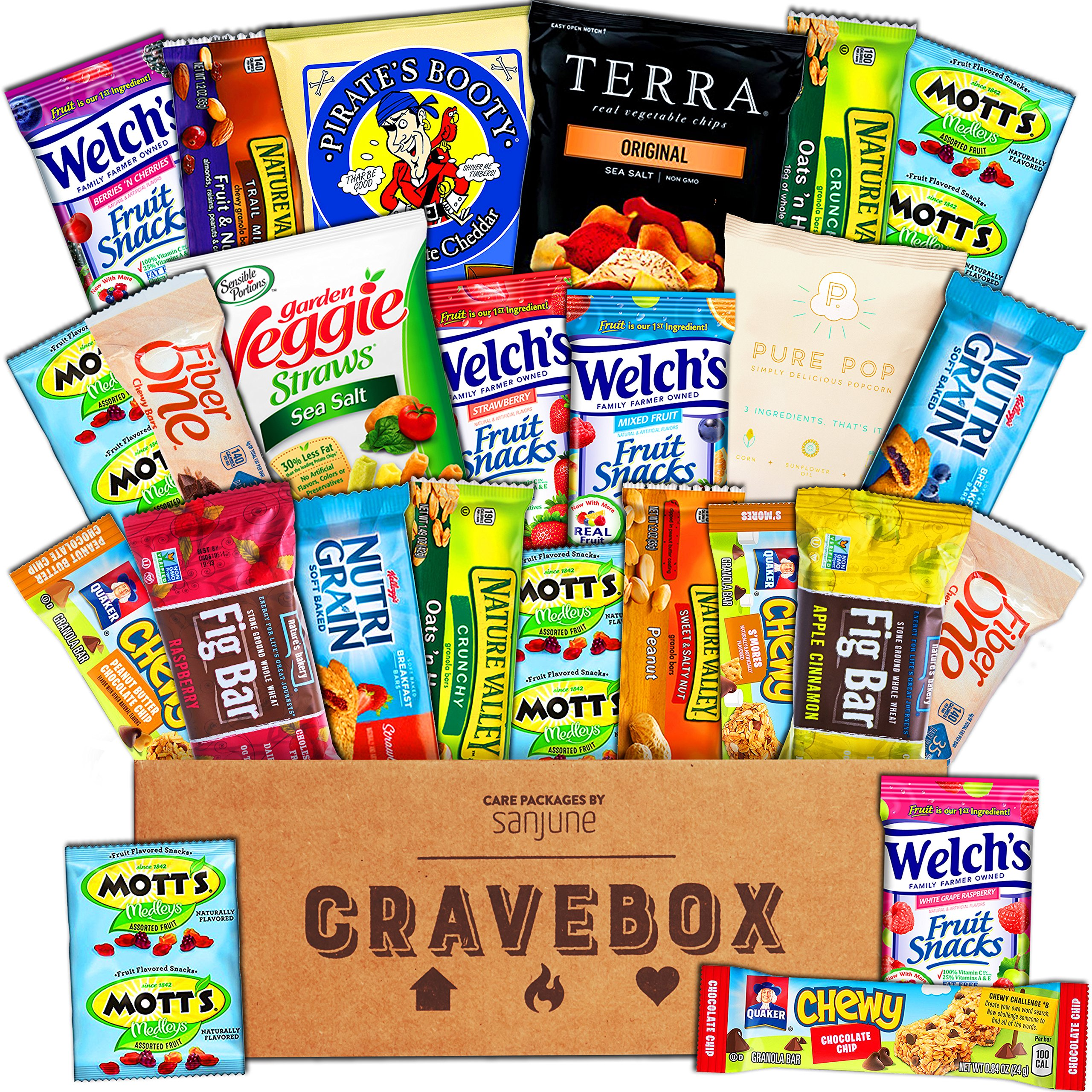 CraveBox - Healthy Snacks Care Package (25 Count) - Variety Assortment with Fruit Snacks, Granola Bars, Popcorn and More, Gift Snack Box for Lunches, Offices or College Students by CraveBox