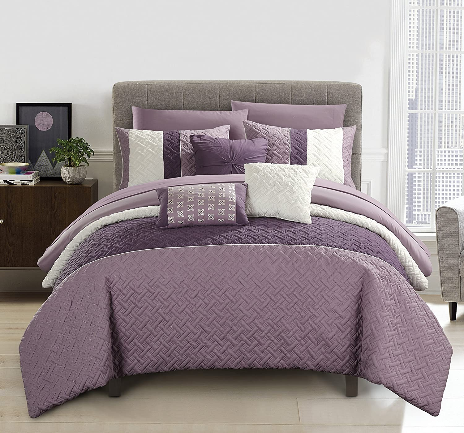Chic Home Osnat 10 Piece Comforter Set Color Block Quilted Embroidered Design Bed in a Bag Bedding – Sheets Decorative Pillows Shams Included Queen Plum