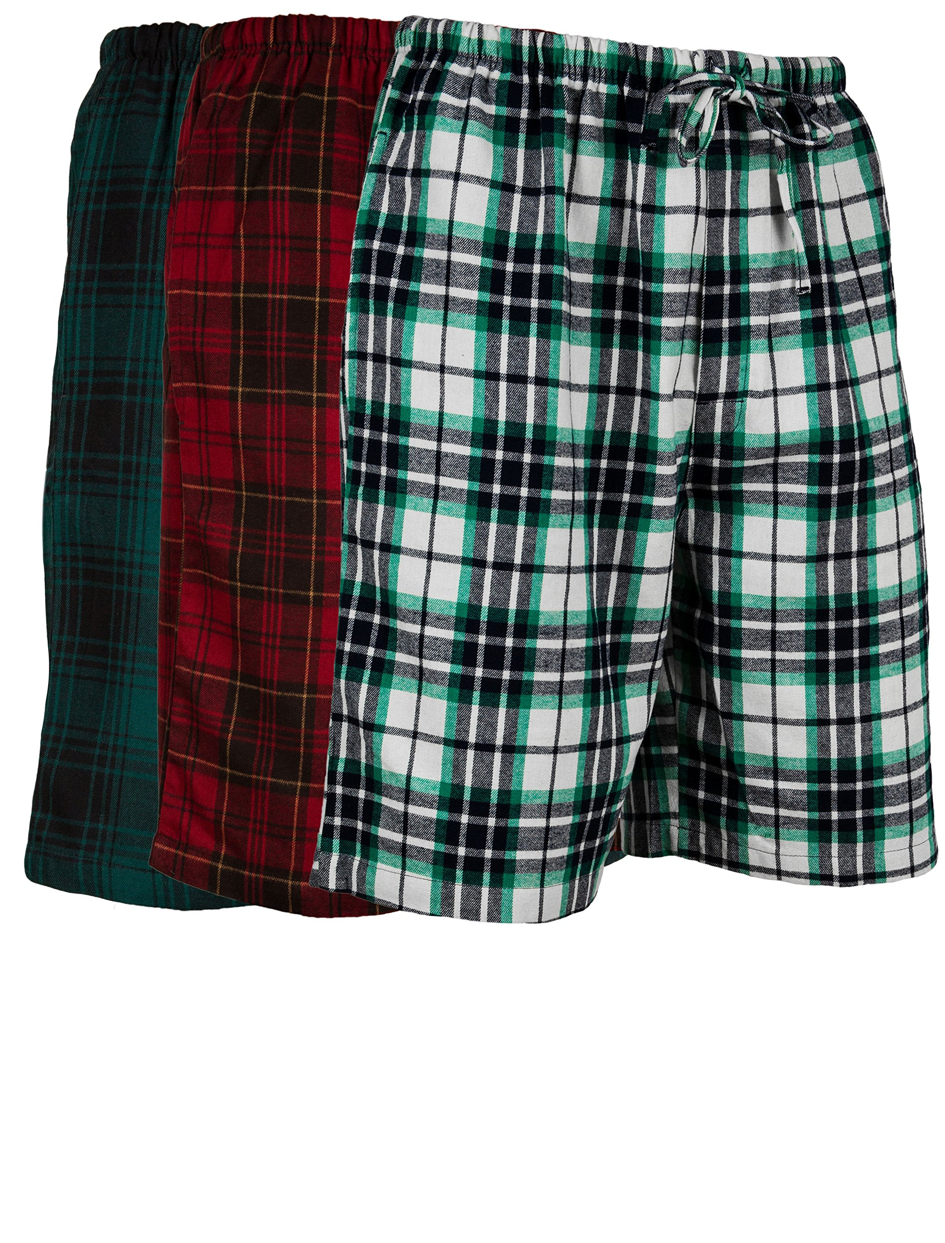 Men's 3 Pack Light Weight Cotton Flannel Soft Fleece Brush Woven Pajama/Lounge Sleep Shorts (3 Pack - Assorted Classics Plaids, Small)