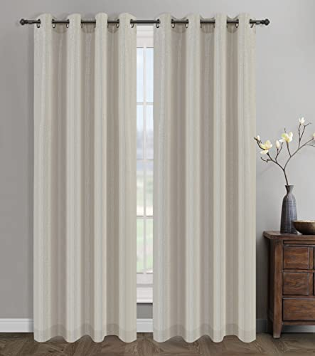 Urbanest 54-inch by 96-inch Cosmo Set of 2 Sheer Curtain Drapery Panels with Grommets, Natural